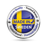 Made in Sweden, Premium Quality, Trusted Brand  - business commerce shiny icon Stock Images