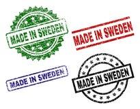 Grunge Textured MADE IN SWEDEN Seal Stamps. MADE IN SWEDEN seal stamps with damaged style. Black, green,red,blue vector rubber prints of MADE IN SWEDEN label vector illustration