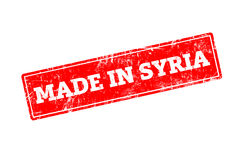 MADE IN SYRIA. Word written on red rubber stamp with grunge edges Stock Image