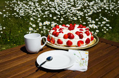 Made table with strawberry cake and coffee cup Stock Photography