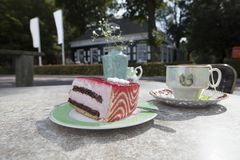 Strawberry chocolate cake and tea cup. Made table with strawberry chocolate cake and tea cup Stock Photo