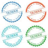 Made in Taiwan badge isolated on white background. Flat style round label with text. Circular emblem vector illustration Royalty Free Stock Photos