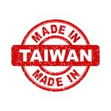 Made in Taiwan red stamp. Vector illustration on white background Stock Images