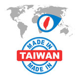 Made in Taiwan stamp. World map with red country. Vector emblem Royalty Free Stock Images