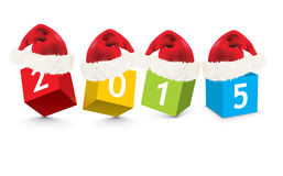 2015 made from toy blocks with christmas hats Royalty Free Stock Images