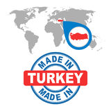 Made in Turkey stamp. World map with red country. Vector emblem. In flat style on white background Royalty Free Stock Photos
