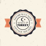 Made in Turkey, vintage sign, badge, insignia. Vector illustration Stock Image