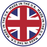 Made in the U.K. Emblem. A rubber stamp like made in the U.K. vector graphic emblem stock illustration