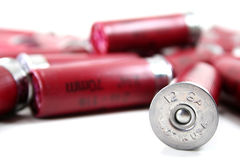 Made in U.S.A. A shotgun shell marked made in the usa on a white background royalty free stock image