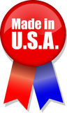 Made in U.S.A. Button Ribbon. Illustration of a button and ribbon with the message Made in U.S.A Royalty Free Stock Photos