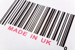 Made in UK. And barcode, business concept Stock Images