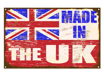Made In The UK Enamel Sign. Made in The UK rusty old enamel sign Royalty Free Stock Photos