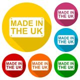 Made in UK icons set with long shadow Royalty Free Stock Photos