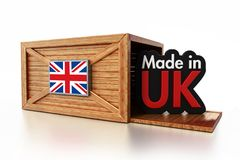 Made in UK text inside cargo box with British flag. 3D illustration.  Royalty Free Stock Photography