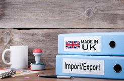 Made In UK. Two binders on desk in the office. Business backgrou. Nd Stock Image