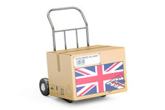 Made in United Kingdom concept. Cardboard Box on Hand Truck, 3D Royalty Free Stock Images