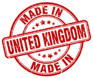 Made in United Kingdom red grunge stamp Royalty Free Stock Photography