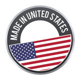 Made in United States label badge logo certified. stock illustration