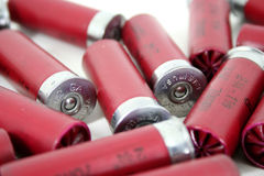 Made in USA. A shallow depth of field reveals that the shotgun shells are made in the united states of america royalty free stock photography