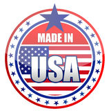 Made in the USA. Circular illustration made in USA stamp isolated over a white background