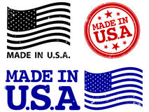 Made In USA. A set of grungy Made In USA stamps in three different colors