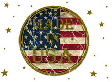 Made in USA. USA flag with text over it and stars Stock Photo