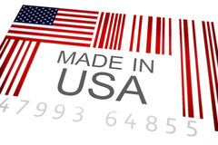 Made in USA. Product bar code symbolizing the massive amounts of goods imported and exported from the United States , Isolated on a white background Royalty Free Stock Photo