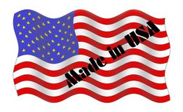 Made in the USA. Graphic image of waving flag and Made in the USA (U.S.A Stock Photo