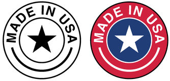 Made in USA. Vector illustration of a Made in USA stamp, in two variants: black and white and using the colors of the American flag stock illustration