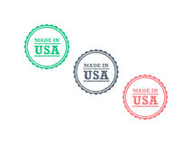 Made in USA american product grunge retro vintage hipster style badge seal sign. Royalty Free Stock Photos