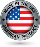 Made in the USA american product silver label with flag, vector stock illustration