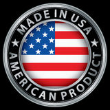 Made in the USA american product silver label with flag. Vector illustration Royalty Free Stock Photography