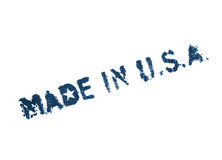 Made in USA. Blue painted label on white Royalty Free Stock Photos