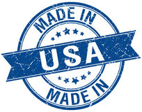 Made in usa blue round stamp Stock Photos