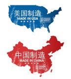 Made In USA China Stamp Illustration. Made in USA and China premium quality in Chinese characters vector illustration