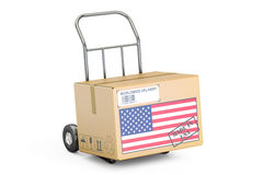Made in USA concept. Cardboard Box on Hand Truck, 3D rendering Royalty Free Stock Photography