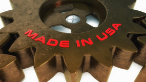 Made in USA 3d text. Made in china 3d text and gear Stock Photos