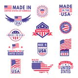 Made in usa. Flag made america american states flags product badge quality patriotic labels emblem star ribbon sticker vector illustration