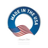 Made in the USA flag color label logo icon. Banner stamp stock illustration