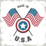 Made in USA flag crossed with shield star emblem. Vector illustration Stock Images