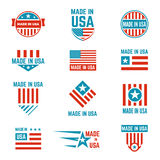 Made in USA flag emblem set. American brands and stores, products label with US content and design. Vector flat style illustration  on white background Royalty Free Stock Photos