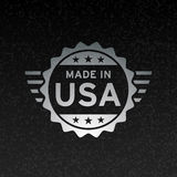 Made in USA flag icon concept metallic badge design vector illustration