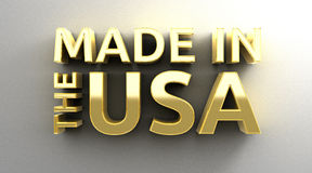 Made in the USA - gold 3D quality render on the wall background Royalty Free Stock Photography