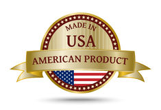 Made in The USA golden badge. Made in USA golden badge and icon with the flag of the United States of America Royalty Free Stock Image