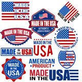 Made in the USA graphics and labels. Set of various Made in the USA graphics and labels on white, vector illustration Stock Image