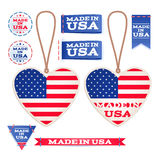 Made in USA hang tags and emblems. Royalty Free Stock Photo