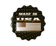 Made in USA. Holographic sticker that says made in USA Stock Photo