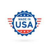 Made in USA icon concept badge design. Vector illustration. Made in USA icon concept badge design with blue and red American flag emblem elements. Vector Royalty Free Stock Photo