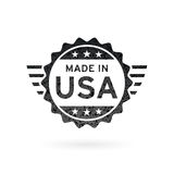 Made in USA icon concept badge design. Vector illustration. Made in USA icon concept badge design with grunge black American flag emblem isolated on white Royalty Free Stock Images