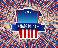 Made in USA label on grunge background. Stock Images